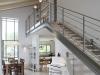 מדרגות אל יחידת הורים, ספריה בגלריה פתוחה אל הסלון